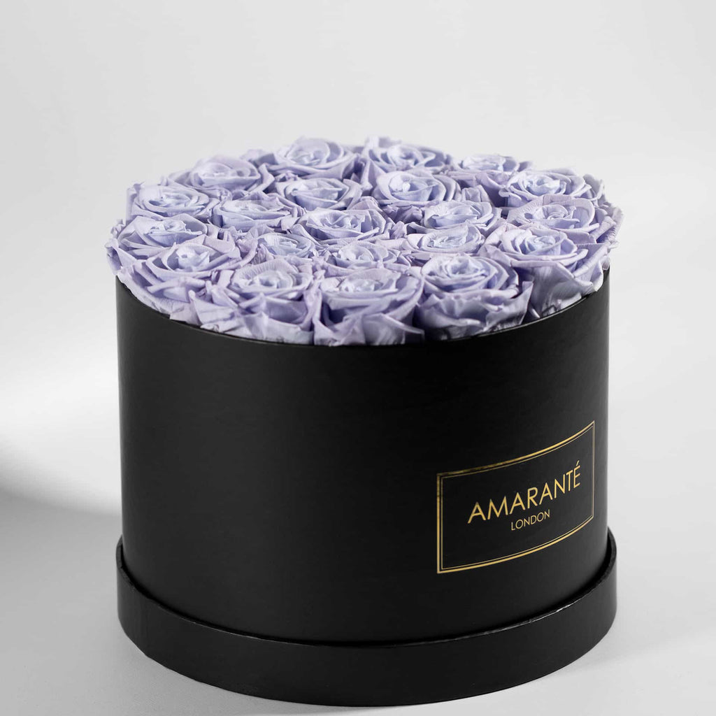 Lavender infinity roses in a hatbox, large size