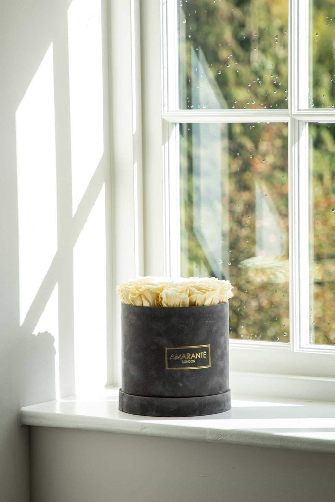 Champagne coloured preserved roses in hatbox, grey suede