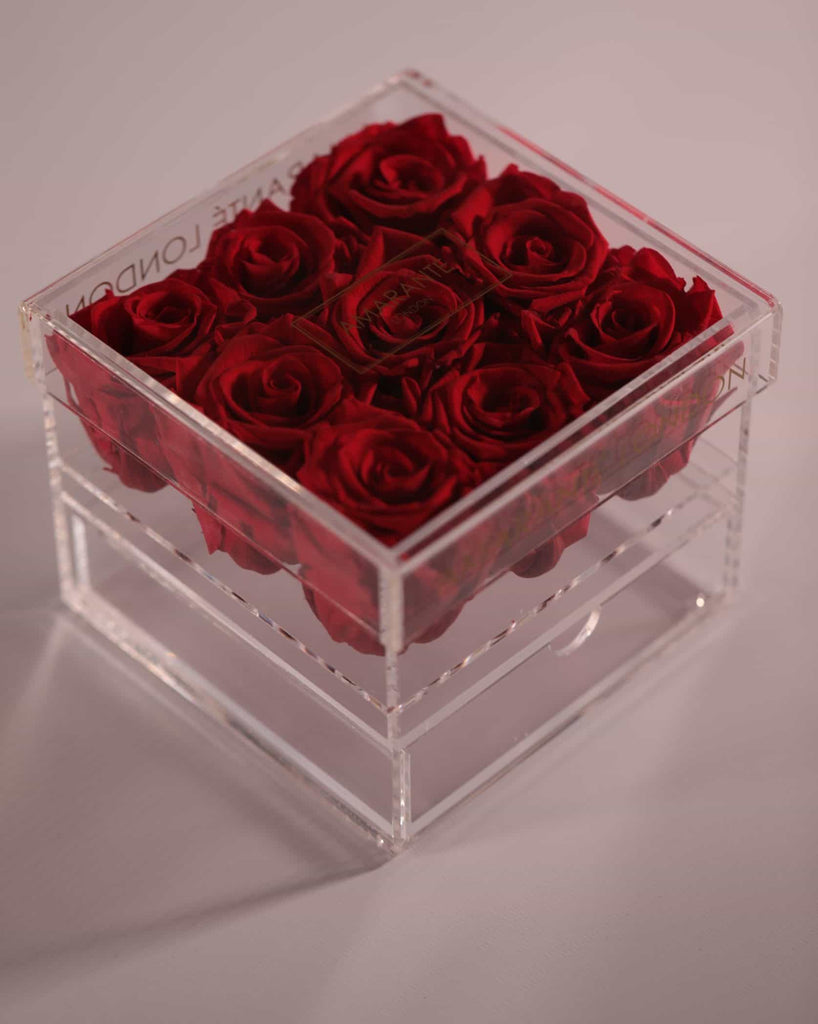 Red Forever Roses in acrylic jewellery box