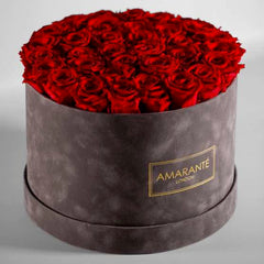 Red roses in grey hatbox - Large Size