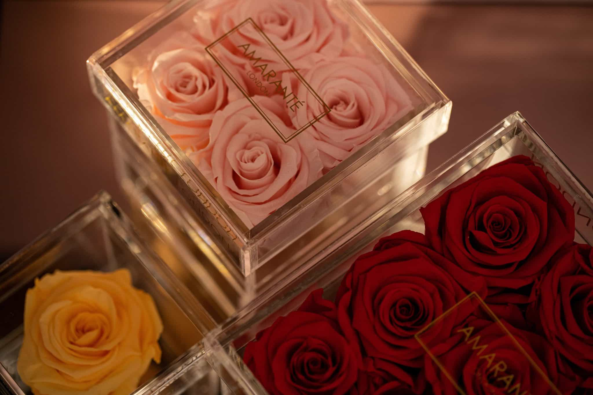 Forever Roses in Acrylic Jewellery Boxes - Amaranté London