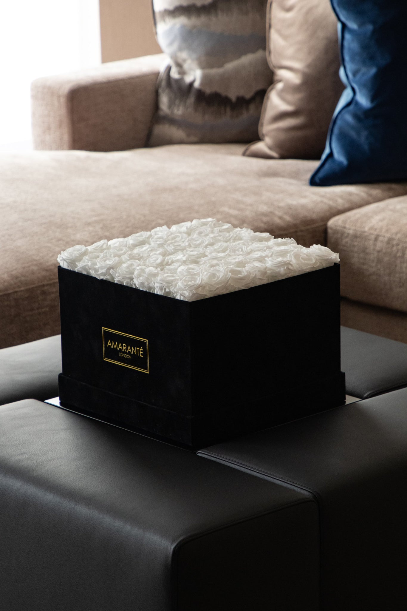 White Eternal Roses in a Hatbox with Suede finish