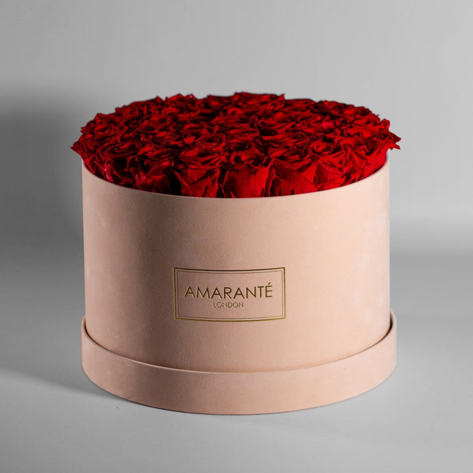 Infinity Roses in an Extra Large Round Hat Box - Beige Suede