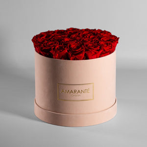 Infinity Roses in a Large Round Hat Box - Beige Suede