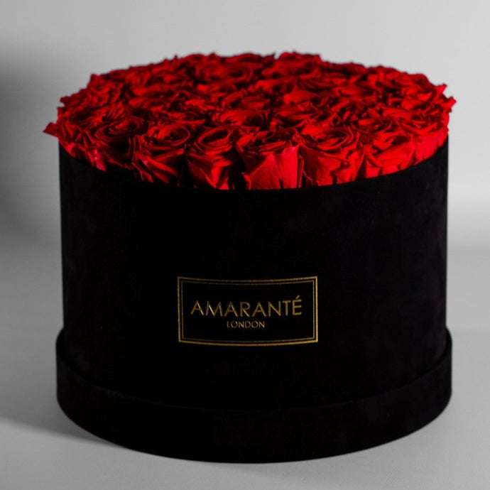 Infinity Roses in an Extra Large Round Hat Box - Black Suede