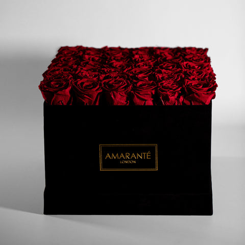 Infinity Roses in a Medium Round Hat Box - Black Suede