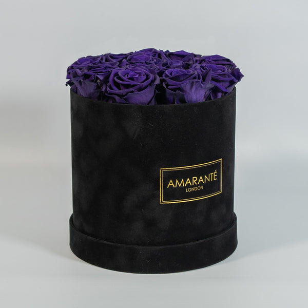 Medium Round Hat Box - Black Suede