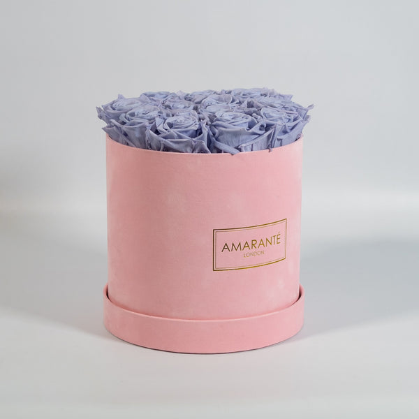 Medium Round Hat Box - Pink Suede