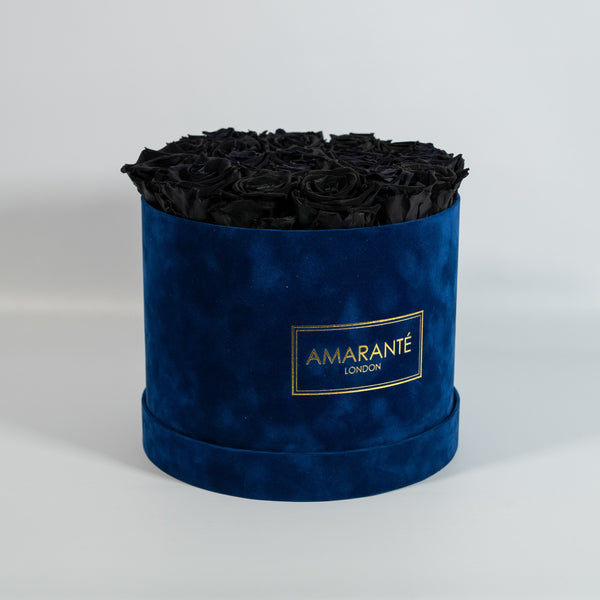 Large Round Hat Box - Royal Blue Suede