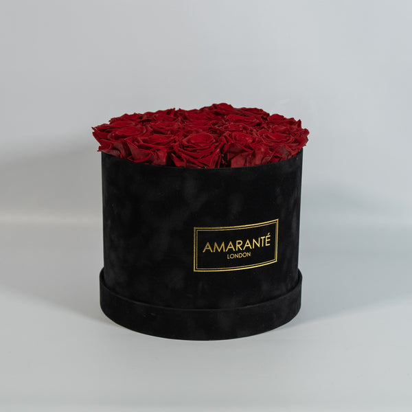Large Round Hat Box - Black Suede