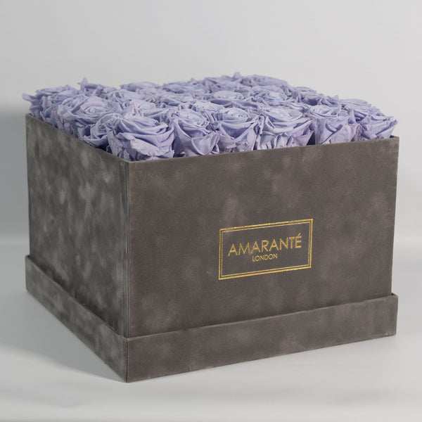 Grey Extra Large Square Suede Hatbox