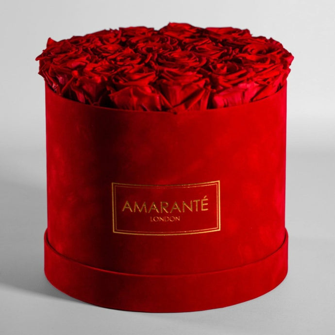 Infinity Roses in a Large Round Hat Box - Red Suede