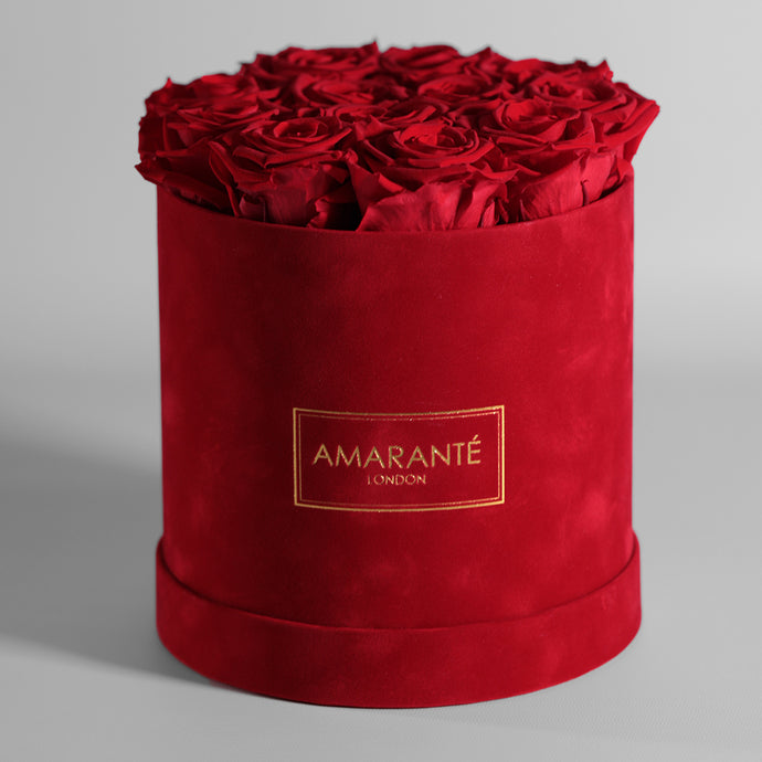 Infinity Roses in a Medium Round Hat Box - Red Suede
