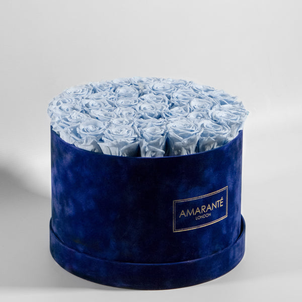 Extra Large Round Hat Box - Royal Blue Suede