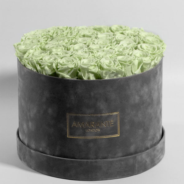 Extra Large Round Hat Box - Grey Suede