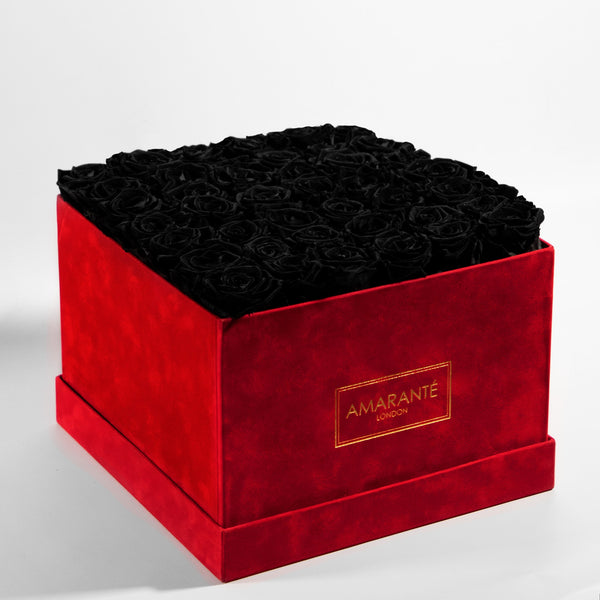 Red Extra Large Square Suede Hatbox