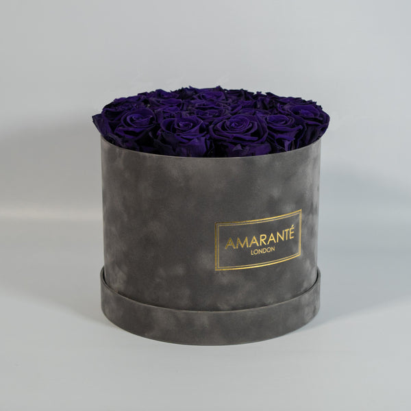 Large Round Hat Box - Grey Suede