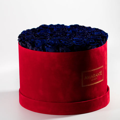 Extra Large Round Hat Box - Red Suede