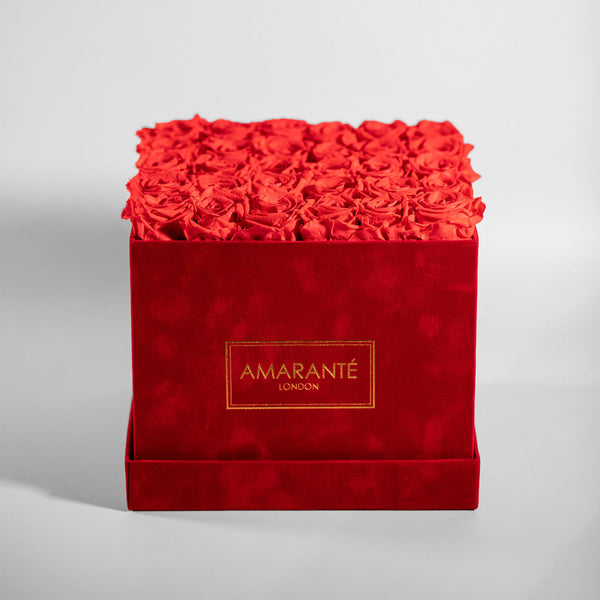 Red Large Square Suede Hatbox