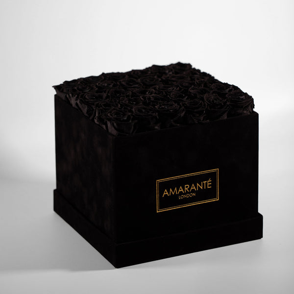 Black Large Square Suede Hatbox