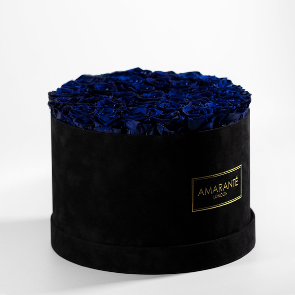 Extra Large Round Hat Box - Black Suede