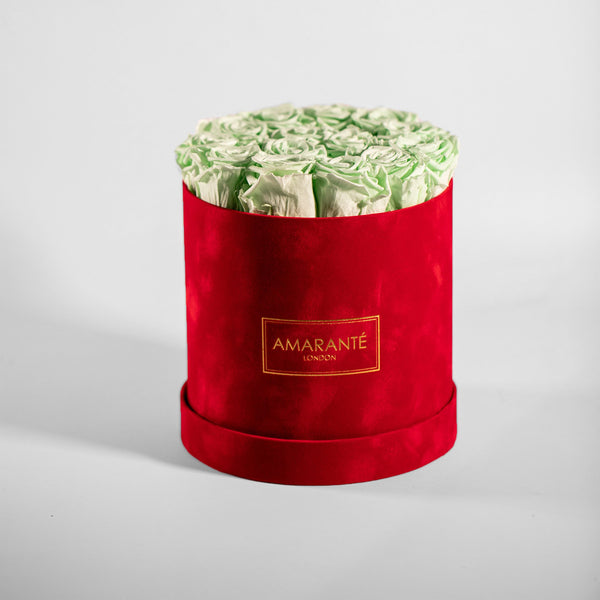 Medium Round Hat Box - Red Suede