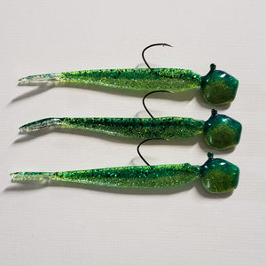 Lure Lipstick Custom Walleye Ready Rigs 1/2 oz or 3/4 oz - Spearmint Sparkle