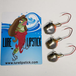 Wal-E-Gat-R Custom Jig Heads 3 Pack Sold By Lure Lipstick - Chrome Eye
