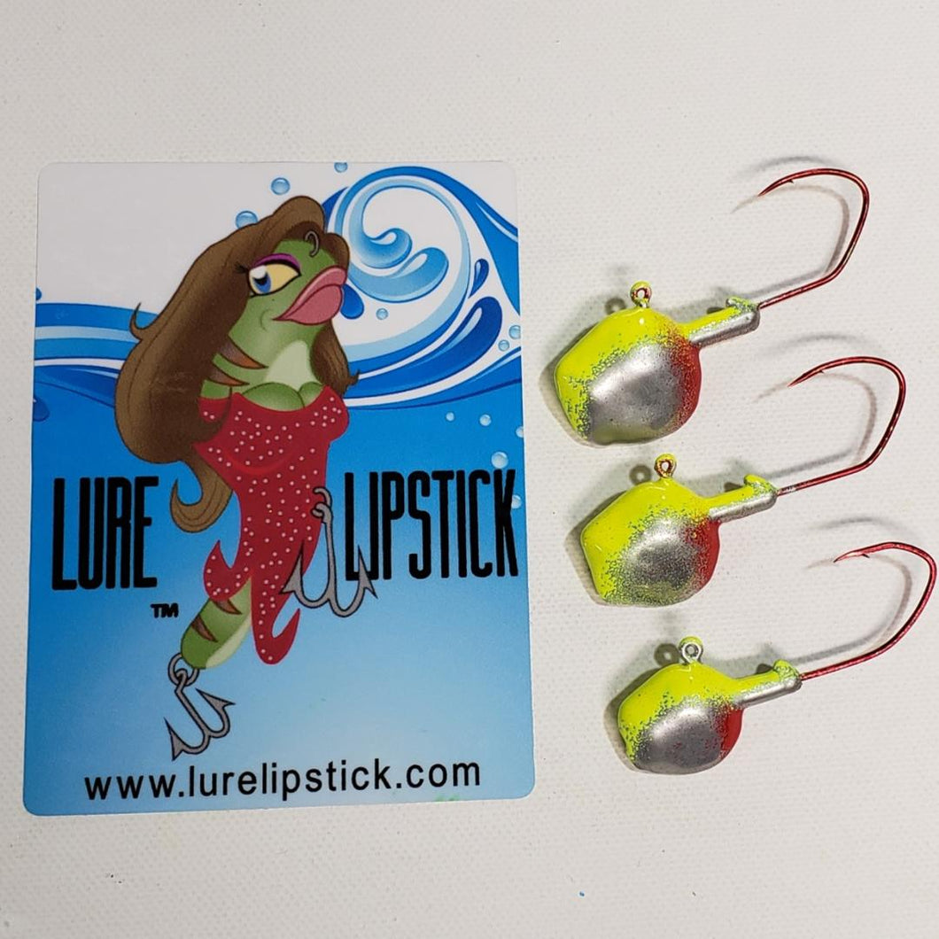 Wal-E-Gat-R Custom Jig Heads 3 Pack Sold by Lure Lipstick - Chrome Clown