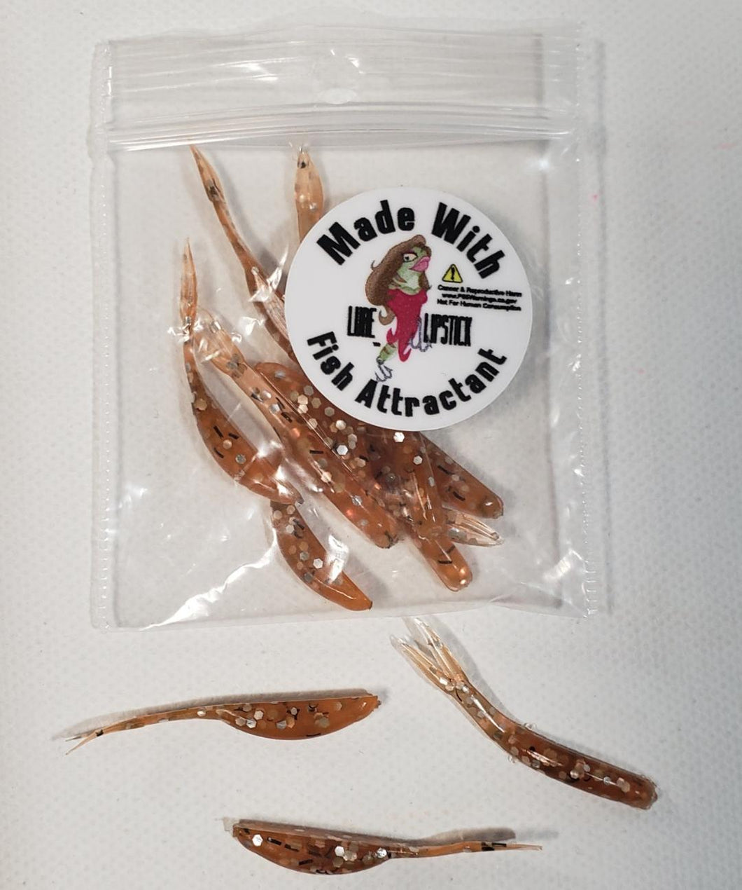 1 in Infused Mini Split Tail Minnows 12 Pack - Orange Sparkle