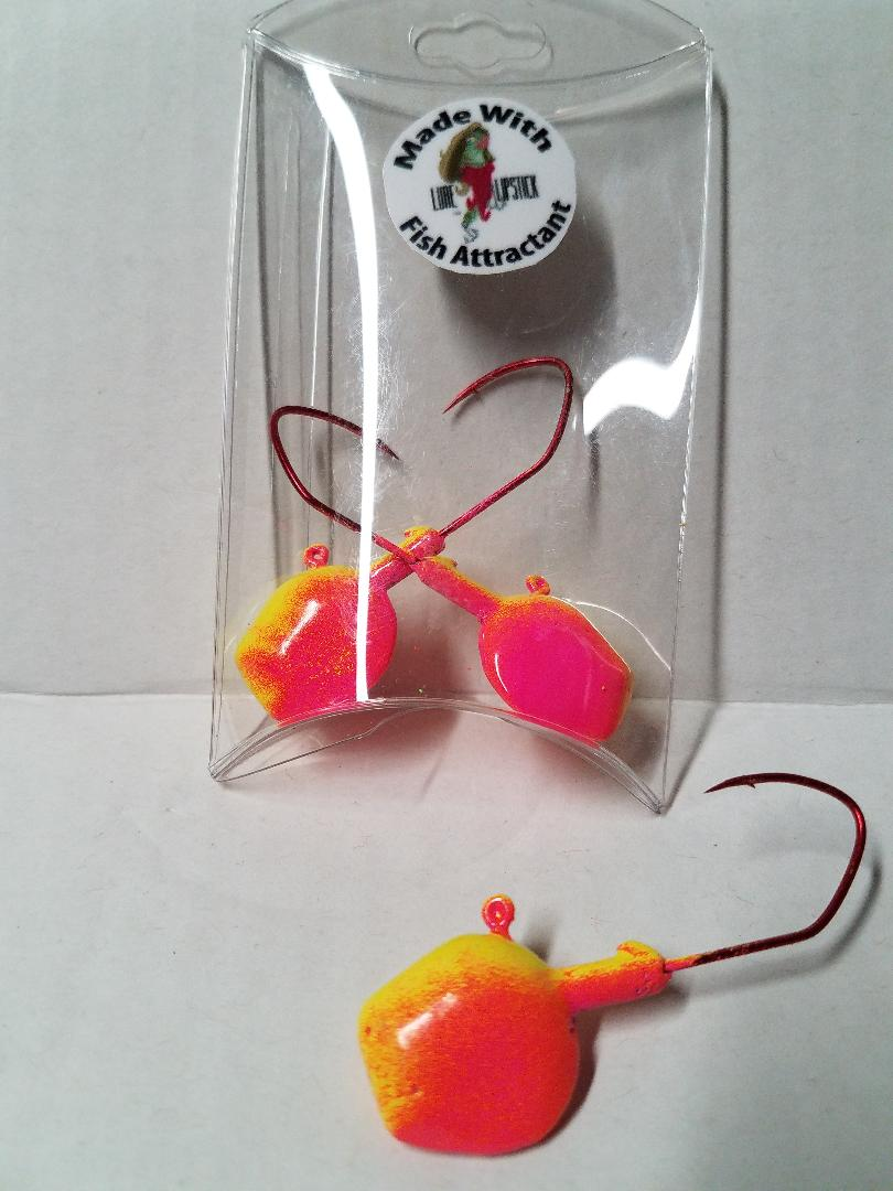 Wal-E-Gat-R 3/4 oz. Custom Jig Heads 3 Pack Sold by Lure Lipstick- Bubblegum
