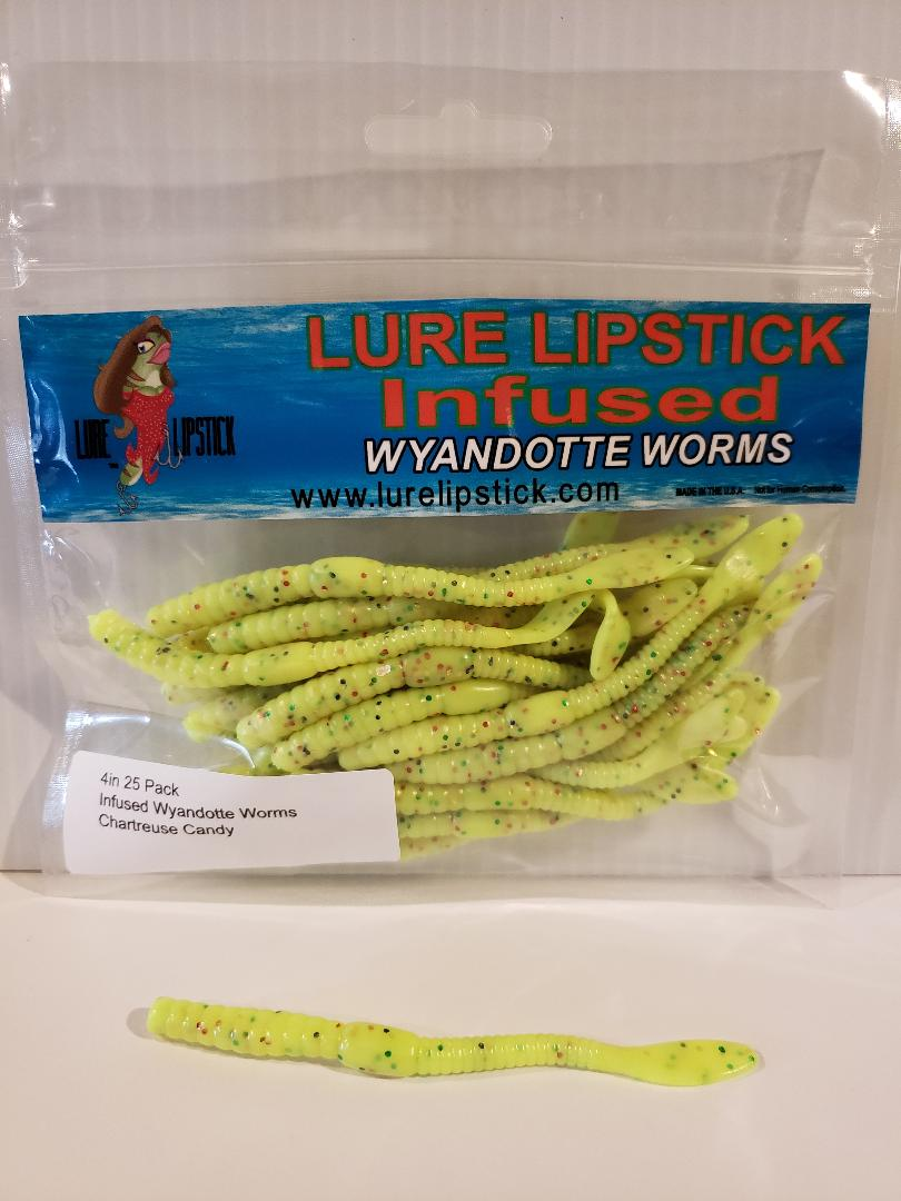 4in 25 Pack Infused Wyandotte Worms - Chartreuse Candy