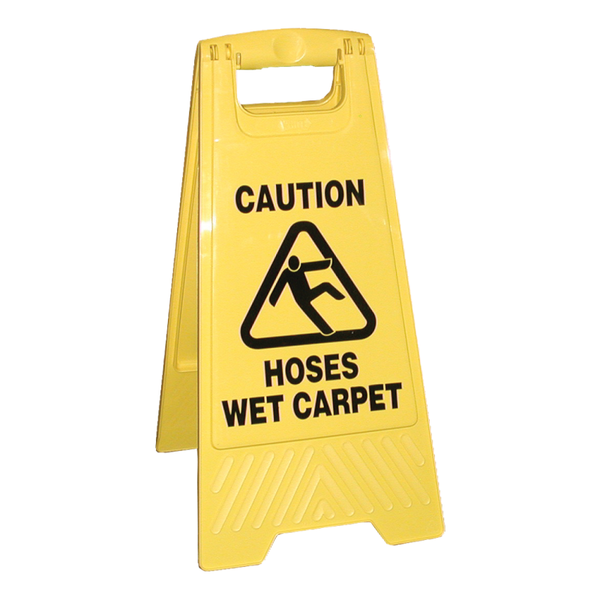 DOUBLE SIDED HOSES WET CARPET CAUTION SIGN