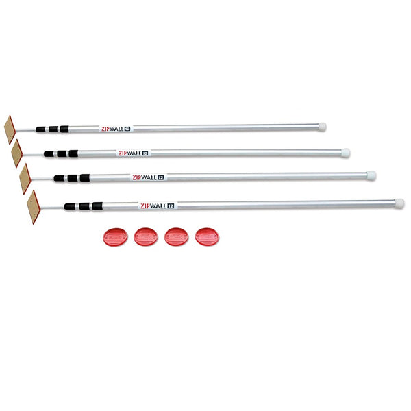 ZIPWALL 4 POLE KIT - 4 x SPRING LOADED POLES & 4 GRIP DISKS