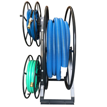 SPACE SAVER TRIPLE HOSE REEL 60 MTRS POWDER COATED CHARCOAL