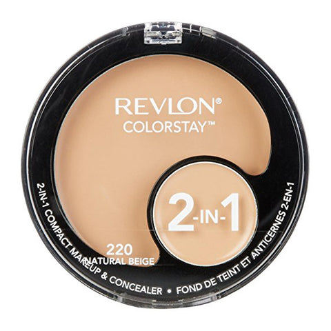 Revlon Colorstay 2-In-1 Compact Makeup & Concealer, 220 Natural Beige