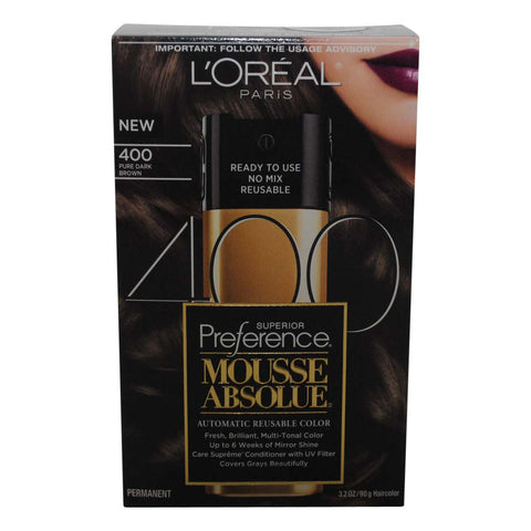 L'Oreal Paris Superior Preference Mousse Absolue Hair Color  400 Pure Dark Brown