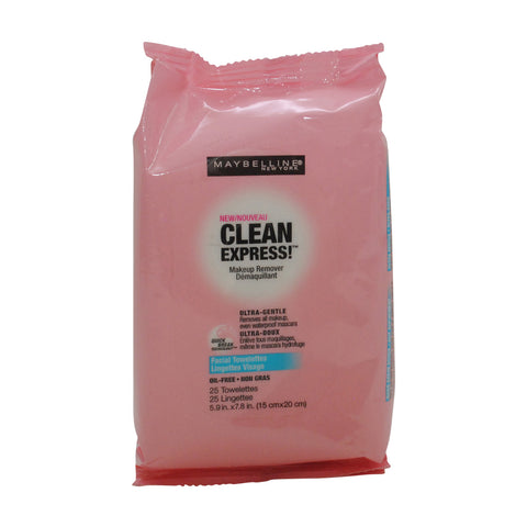 Maybelline New York Clean Express Makeup Remover Facial Towelettes, 25 Count Towelettes