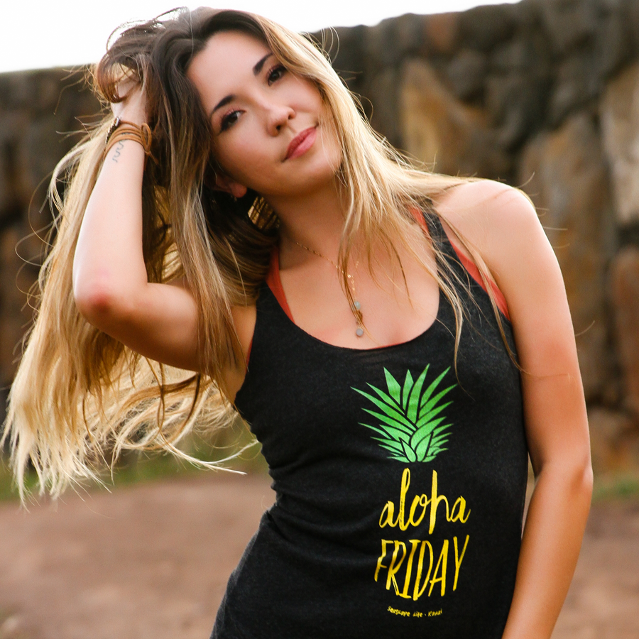 Aloha Friday Pineapple Women's Racerback Tank - Seascape Life