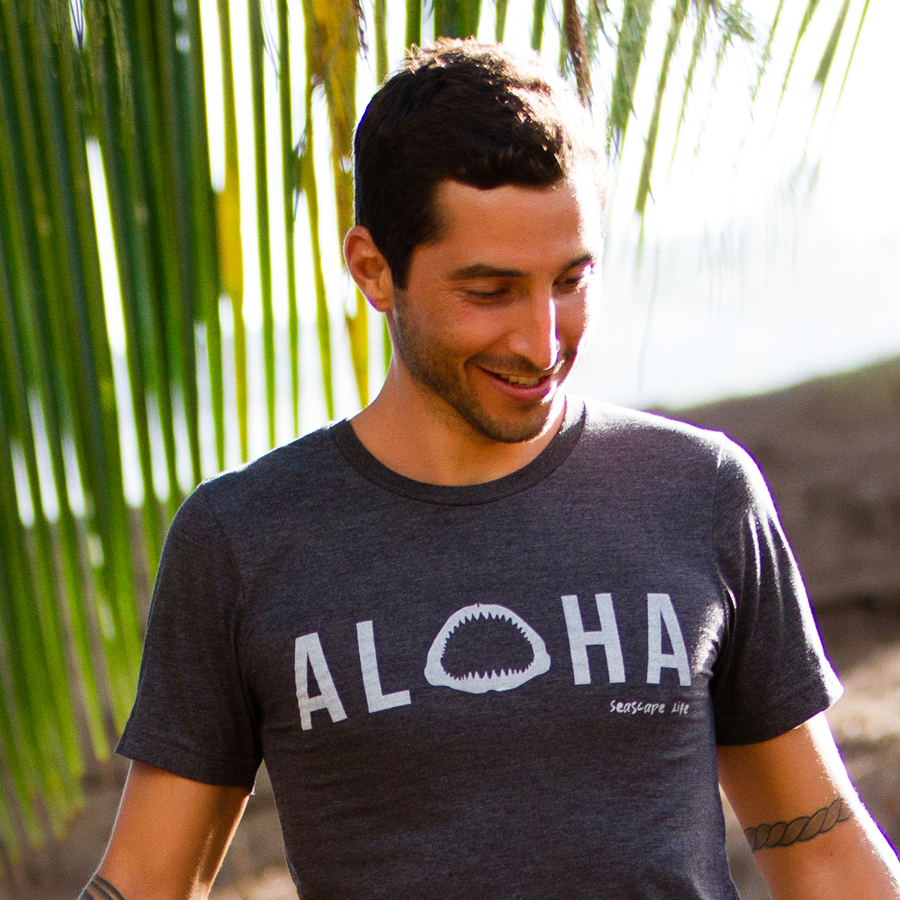 Aloha with Shark Jaws Mens / Unisex T-Shirt - Seascape Life