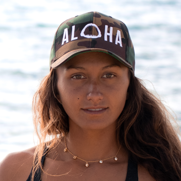 Aloha with Shark Jaws Camouflage Snapback Hat White Logo - Seascape Life