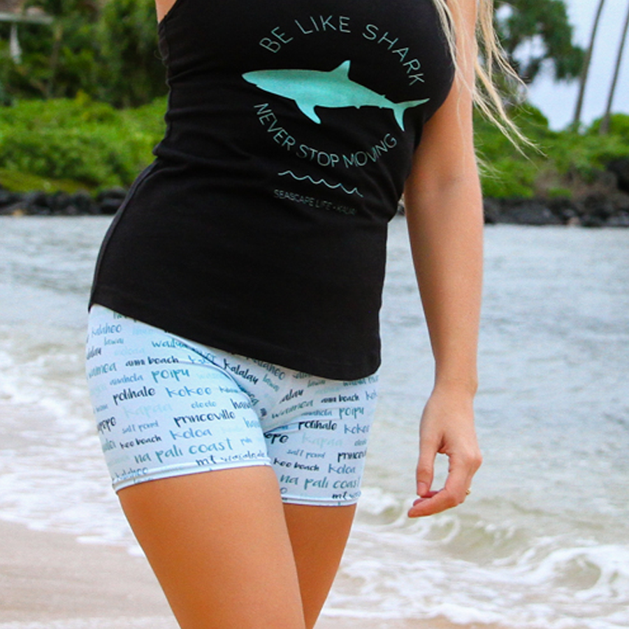 Kauai Towns & Sites Women's Yoga Shorts - Seascape Life