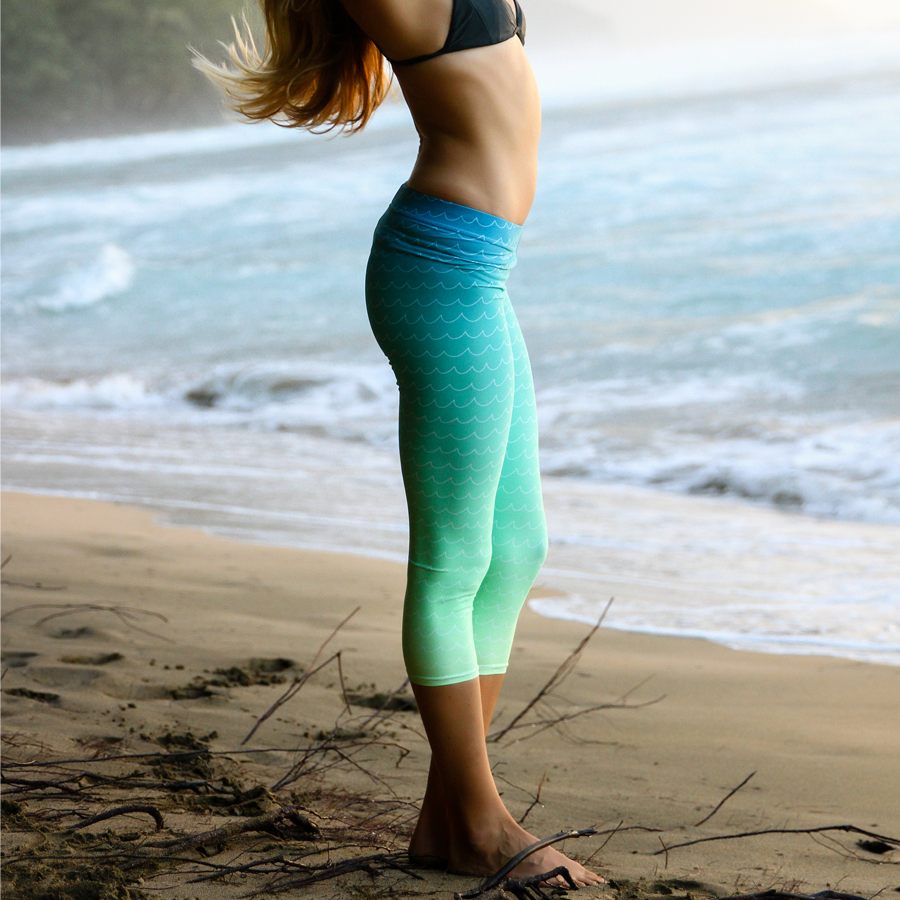 Waves Gradient Mermaid Womens Leggings - Seascape Life