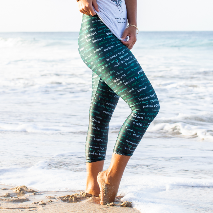 Oahu Sites & Towns Dark Leggings - Seascape Life