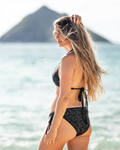 Midnight Wave Gradient and Black and White Fan Coral Reversible Bikini Bottom - Seascape Life