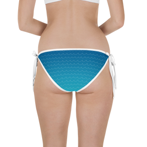 Ocean Wave Gradient and Colorful Shark Teeth/Hearts Reversible Bikini Bottom - Seascape Life