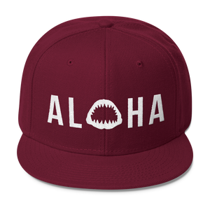 Aloha with Shark Jaws Wool Blend Snapback Hat - Seascape Life