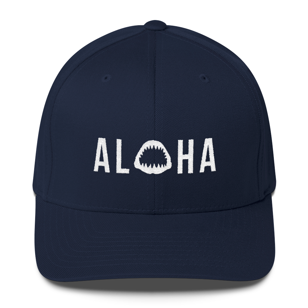 Aloha with Shark Jaws Flexfit Structured Twill Hat - Seascape Life