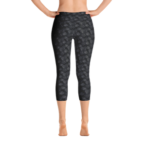 Black and White Fan Coral Womens Legging - Seascape Life