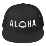 Aloha with Shark Jaws Trucker Hat - Seascape Life
